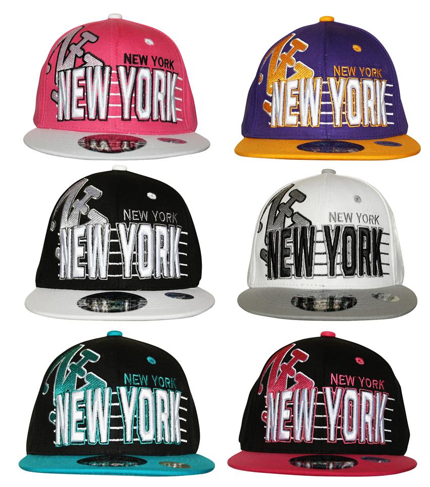 a1049915a5a YOUTH KIDS NY New York Stripe SNAPBACK Flat Peak Cap Hat Snap Back ...