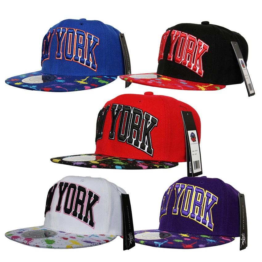 Details about City Hunter NY New York SNAPBACK Splash Paint Print Flat Peak  Cap Hat Snap Back 51ced29ce64