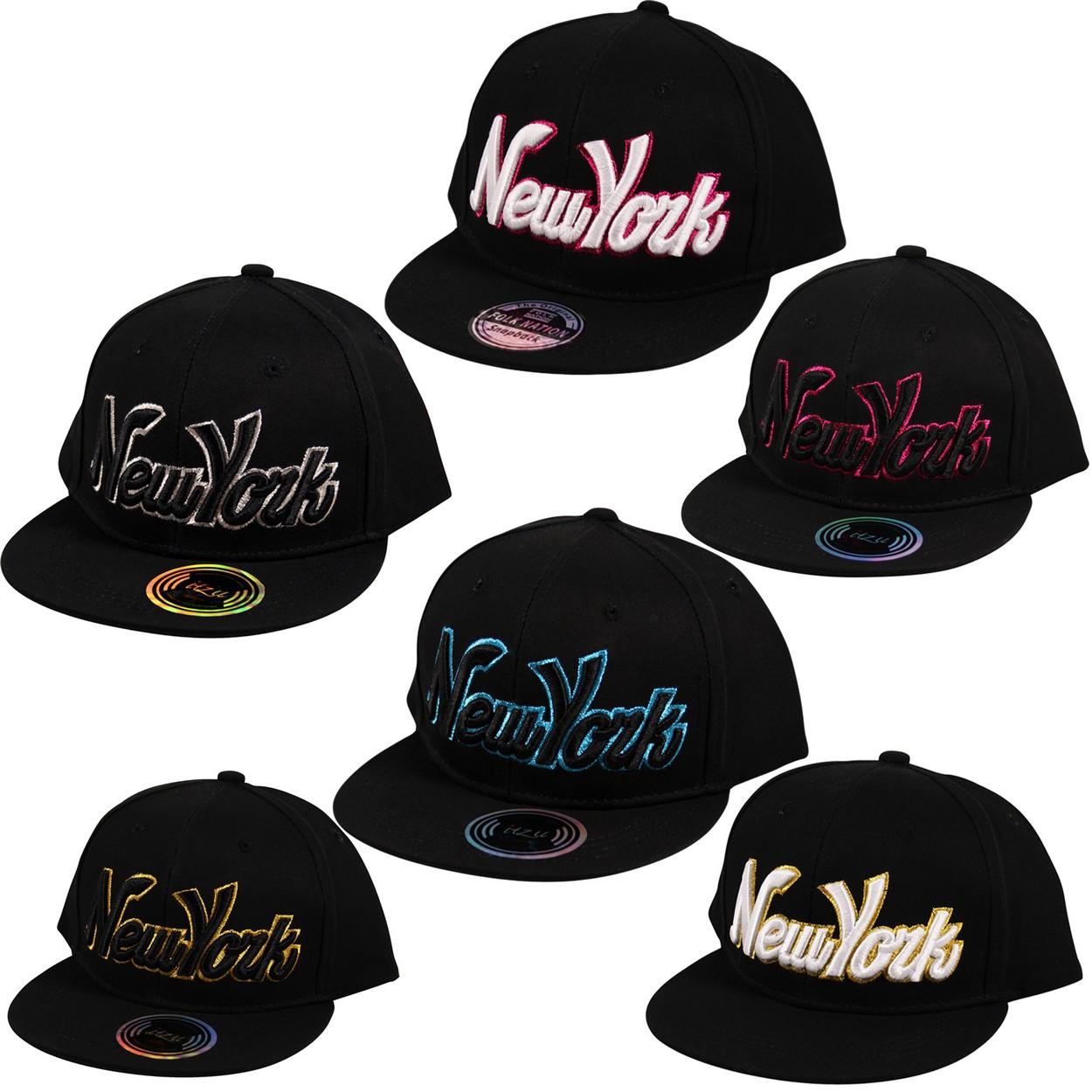 9e2cea1043e ITZU YOUTH KIDS New York NY Glitter Edge 3D Snapback Cap Baseball ...