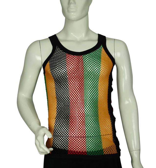 Womens Rasta Striped Sleeveless Vest Shirt Mesh Fishnet Top Multicolour Reggae